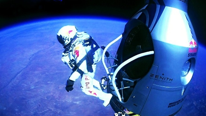 In a giant leap from more than 24 miles up, Baumgartner shattered the sound barrier Sunday while making the highest jump ever  a tumbling, death-defying plunge from a balloon to a safe landing in the New Mexico desert.