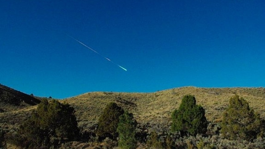 A fireball flits through the sky above Reno, Nevada on April 22, 2012.