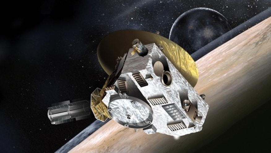 This artist's concept shows NASA's New Horizons spacecraft during its 2015 encounter with Pluto and its moon, Charon.
