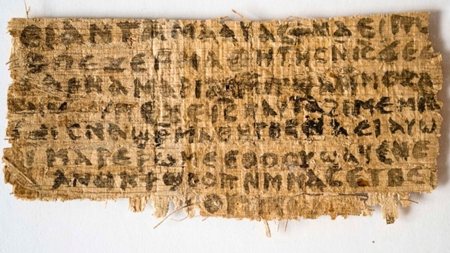 "This Sept. 5, 2012 photo released by Harvard University shows a fourth century fragment of papyrus that divinity professor Karen L. King says is the only existing ancient text that quotes Jesus explicitly referring to having a wife.  King, an expert in the history of Christianity, says the text contains a dialogue in which Jesus refers to ""my wife,"" whom he identified as Mary. King says the fragment of Coptic script is a copy of a gospel, probably written in Greek in the second century. (AP Photo/Harvard University, Karen L. King)"