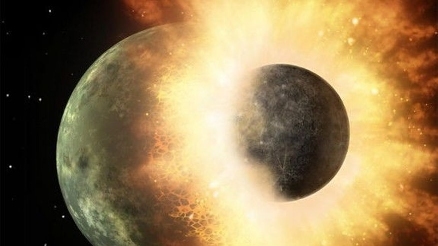 This artist's conception of a planetary smashup whose debris was spotted by NASA's Spitzer Space Telescope three years ago gives an impression of the carnage that would have been wrecked when a similar impact created Earth's Moon. A team at Was