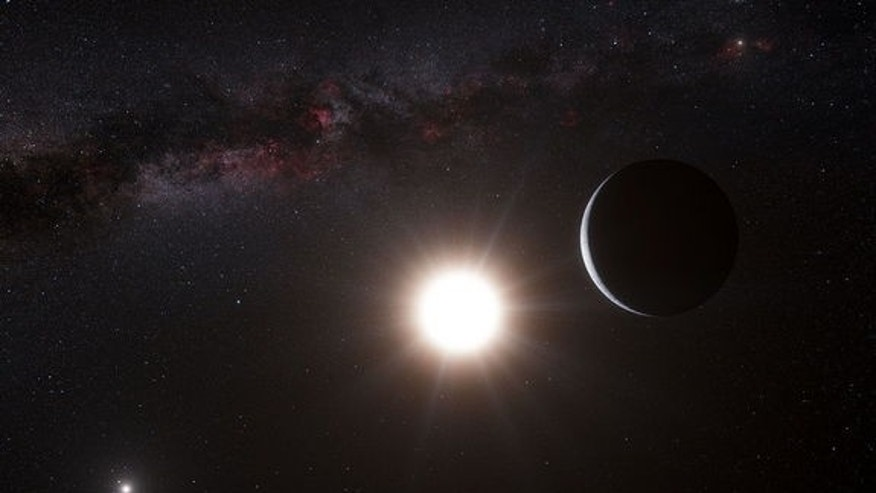 This artist's impression shows the planet orbiting the star Alpha Centauri B, a member of the triple star system that is the closest to Earth. Alpha Centauri B is the most brilliant object in the sky and the other dazzling object is Alpha Centa