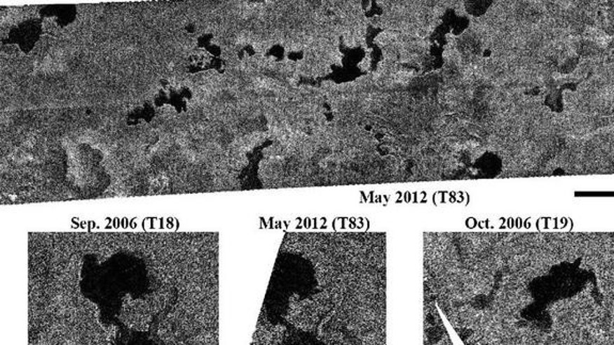 These images obtained by NASA's Cassini spacecraft show Titan's stable northern lake district. Cassini's radar instrument obtained the recent images on May 22, 2012. It observed some regions containing lakes that were last observed about six ye