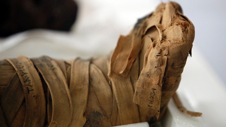 Oct. 19, 2012: The wrapped feet of a mummified young girl of the Ptolemaic/Roman Period, 332 B.C. - 395 A.D. at the Penn Museum in Philadelphia.