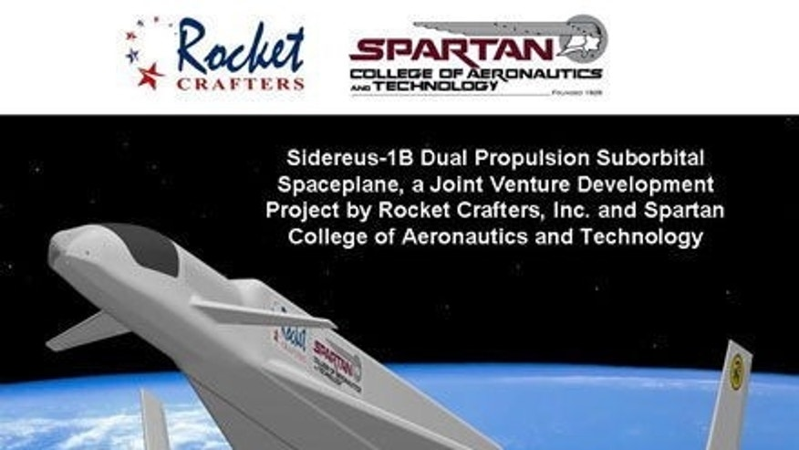 An illustration of the Sidereus space plane vehicle design under development by Rocket Crafters. The space plane is a planned suborbital flight vehicle.