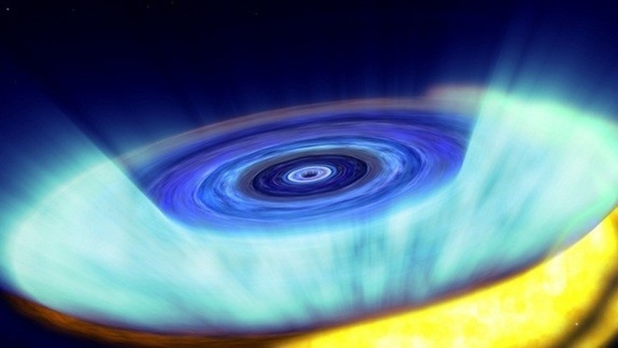 Gas builds up in a storage disk around a black hole, eventually leading to a bright X-ray nova.