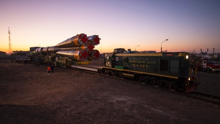 Oct. 21, 2012: The Soyuz rocket is rolled out to the launch pad by train at the Baikonur Cosmodrome in Kazakhstan.
