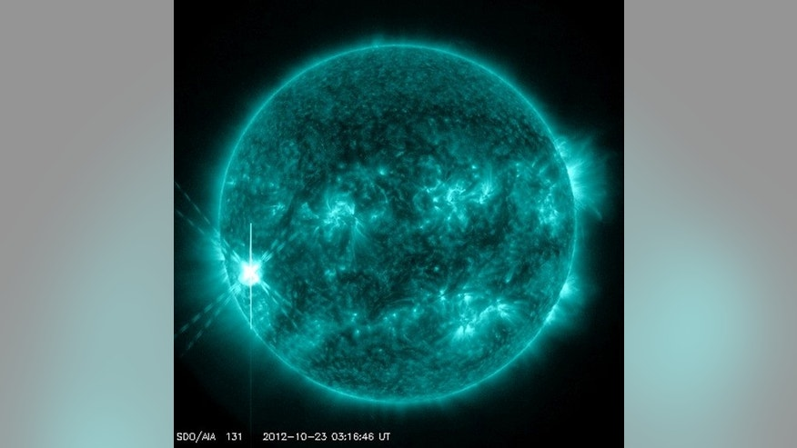 NASA's Solar Dynamics Observatory satellite captured this photo of the X-class solar flare unleashed from the sun Oct. 22, 2012.