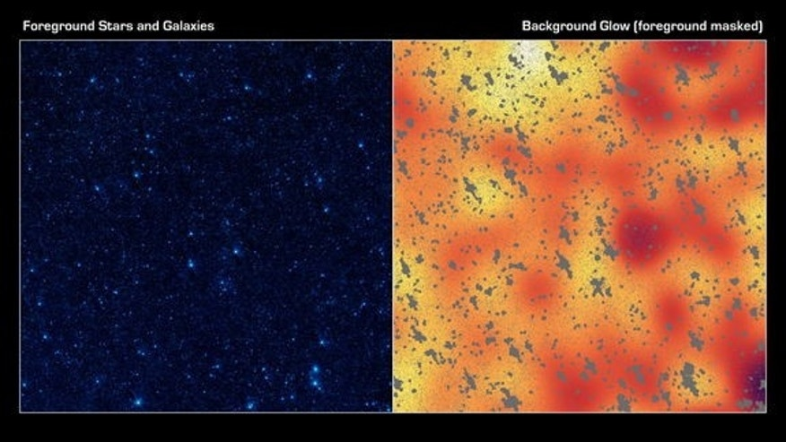 The image on the left shows a portion of our sky, called the Boötes field, in infrared light, while the image on the right shows a mysterious, background infrared glow captured by NASA's Spitzer Space Telescope in the same region of sky. Using