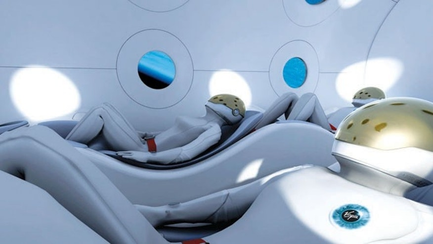A conceptual illustration of Virgin Galactic Astronauts in their seats ready for flight.