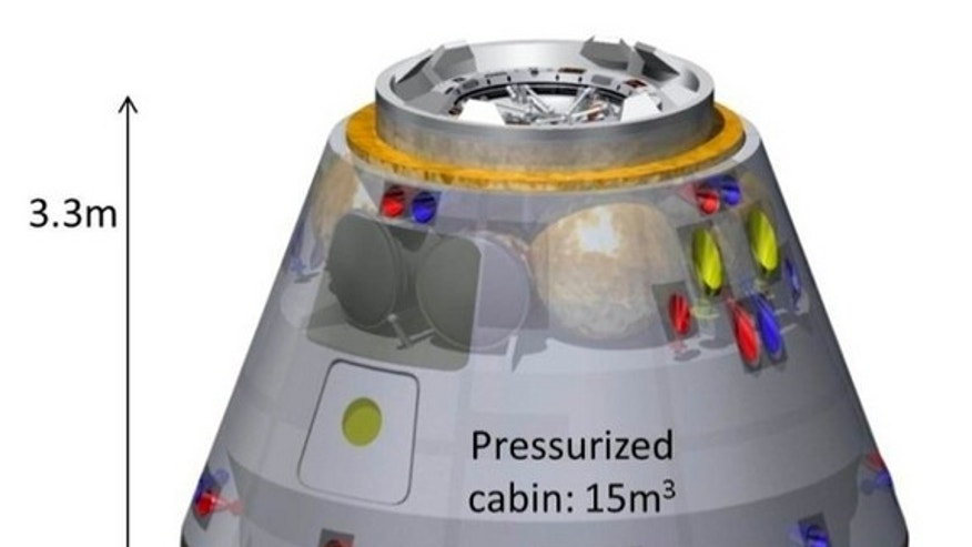 A diagram of a crew capsule being developed by the Japan Aerospace Exploration Agency (JAXA).