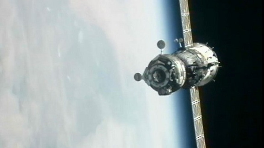The Russian Soyuz TMA-06M spacecraft as seen from the International Space Station as it approaches on Oct. 25, 2012 for docking.