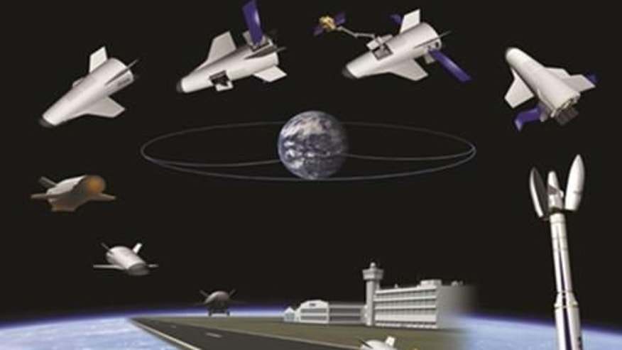 This concept graphic shows one possible configuration of the Innovative Space Vehicle and its various orbital flight mission phases.