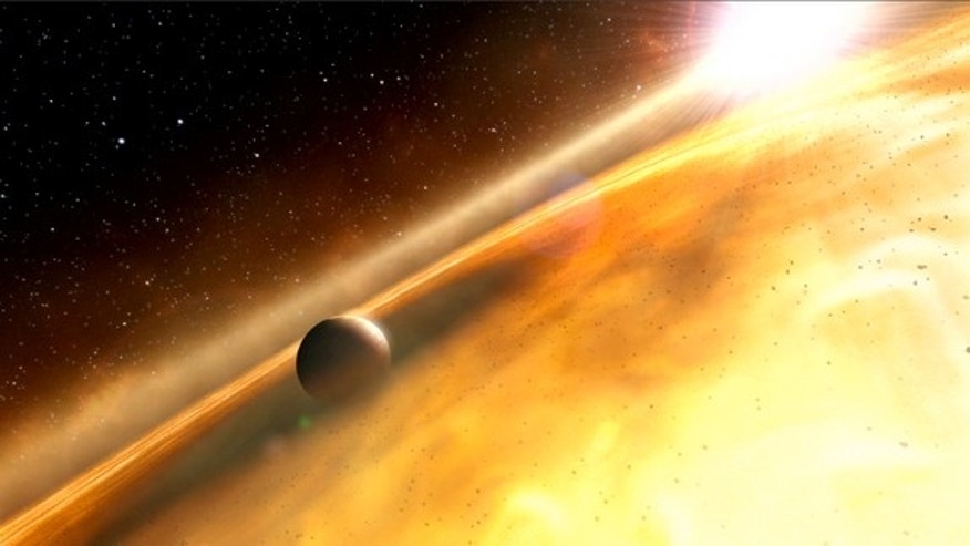 This artist's impression shows the huge exoplanet Fomalhaut b orbiting its sun, Fomalhaut.