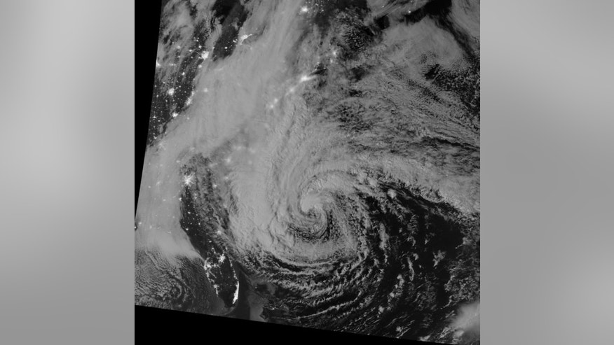 This night-view image of Hurricane Sandy was acquired by the Visible Infrared Imaging Radiometer Suite (VIIRS) on the Suomi NPP satellite around 2:42 a.m. Eastern Daylight Time (06:42 Universal Time) on October 28, 2012. In this case, the cloud