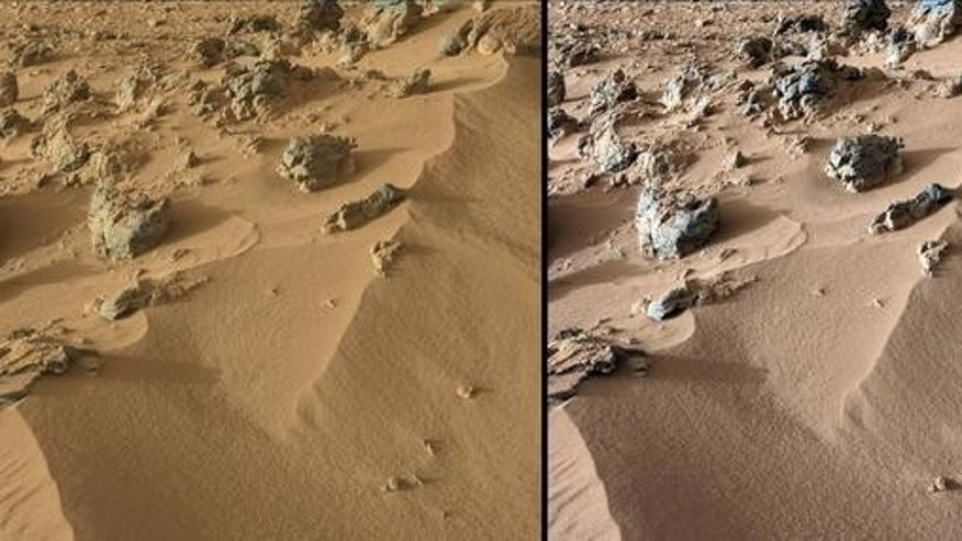 "This pair of images from NASA's Curiosity rover shows part of a wind-blown deposit dubbed ""Rocknest."" At left is an unmodified shot, showing how the scene appears on Mars; the image at right has been white-balanced to show how it would look und"