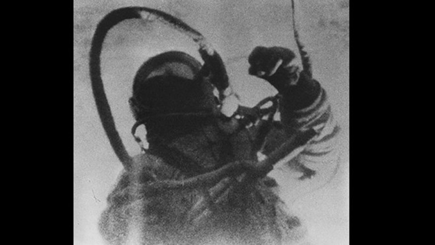The only surviving photograph of Alexei Leonov's space walk, who barely avoided being eaten alive by wolves after a 1965 spacewalk.