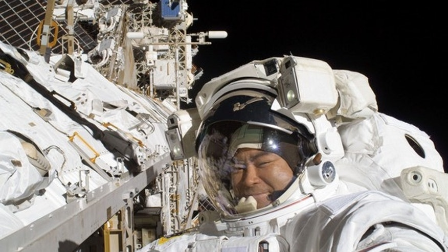 Japanese astronaut Akihiko Hoshide is pictured during a spacewalk on Sept. 5, 2012. During the six-hour, 28-minute spacewalk, Hoshide and NASA astronaut Sunita Williams (out of frame) fixed a critical station power unit and installed a camera o