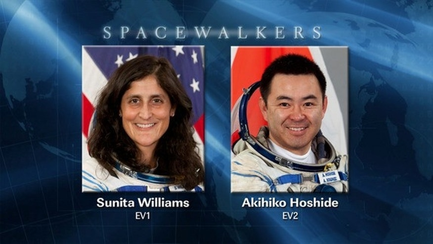 This NASA graphic shows the two astronauts who will perform a 6.5-hour spacewalk on Nov. 1, 2012. They are: NASA astronaut Sunita Williams, and Akihiko Hoshide, an astronaut with the Japan Aerospace Exploration Agency (JAXA).