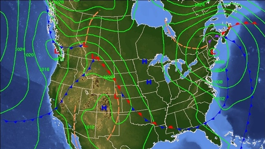 Nov. 1, 2012: A NOAA map shows 7-day sea level pressures and weather fronts. The National Weather Service&#39&#x3b;s said Thursday that a nor&#39&#x3b;easter was possible for mid-Atlantic and New England states by Election Day through next Thursday.