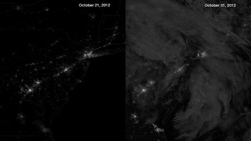 The NASA/NOAA Suomi NPP satellite's day/night band measures light emanating from the ground showing human settlements and industrial activity, and also moonlight reflected off of clouds. The image on the left was taken on October 21, 2012, an e