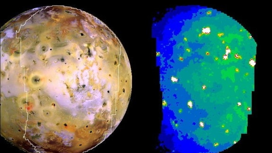 Galileo spacecraft observations: a three-color global scale view of Io obtained on 3 July 1999 (Orbit 21) with a resolution of 1.3 km per pixel is shown on the left. The corresponding infrared image on the right was taken at 4.7 ?m on October 1