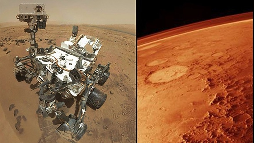 Oct. 31, 2012: NASA's Curiosity rover captured a set of 55 high-resolution images (left), which were stitched together to create this full-color self-portrait from Mars (right).