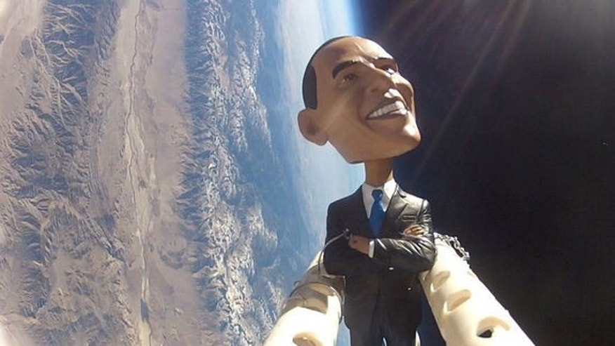 The students of the Earth to Sky project sent a bobblehead doll of President Obama flying on a weather balloon over Owens Valley, CA, on Nov. 6, 2012, in honor of Election Day.