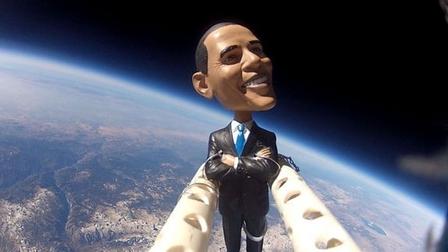 Middle and high school students of the Earth to Sky Calculus club project in Bishop, Calif., launched a bobblehead toy of President Barack Obama into the stratosphere on Nov. 5, 2012, one day before Election Day, using a high-altitude balloon t