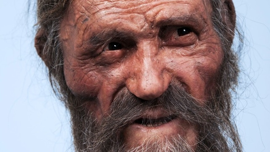 "A reconstruction of Otzi the Iceman -- a remarkably well preserved 5,300-year-old mummy sometimes lovingly called ""Frozen Frit"" -- recently created by Dutch forensic experts."