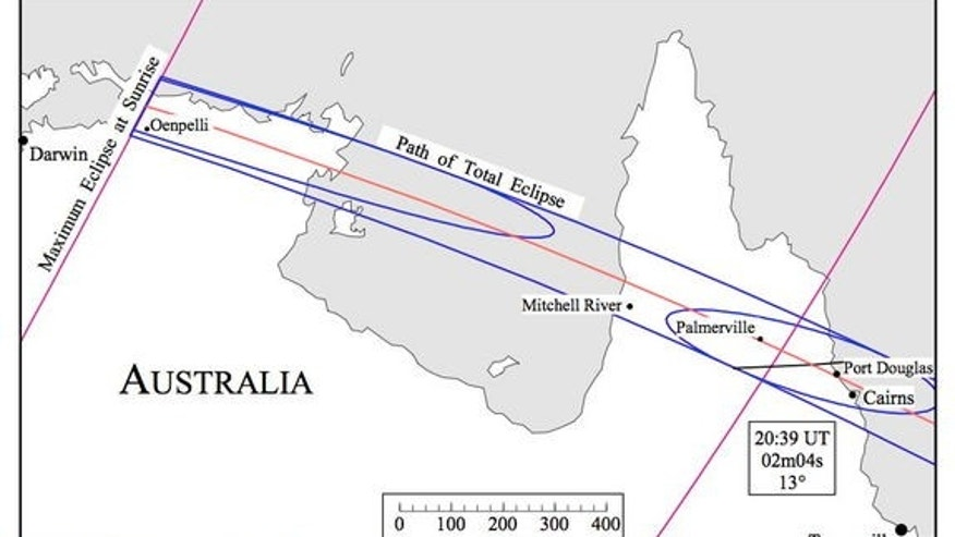 This map shows the path of the total solar eclipse over Australia on Nov. 13, 2012.