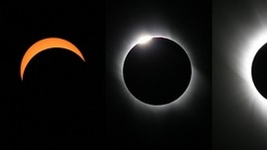 Imelda and Edwin created this montage of the March 29, 2006 total solar eclipse from individual photos they obtained from Salloum, Egypt.