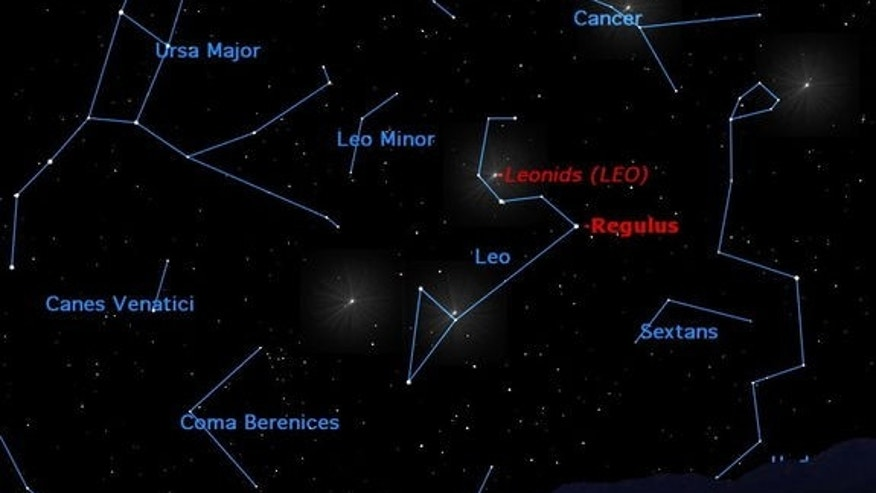 Look inside the sickle of Leo for the point in the sky from which the Leonid meteors appear to radiate.
