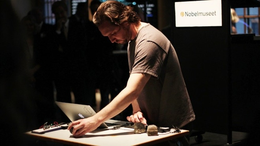 Kristofer Hagbard performs music from radioactive isotopes at the Nobel Museum in Sweden.