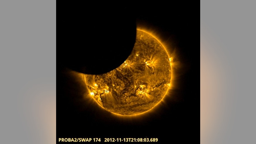 ESA's Proba-2 satellite experienced 3 partial solar eclipses during the total solar eclipse of Nov. 13, 2012 (EST). This image is taken from a video made by the spacecraft.