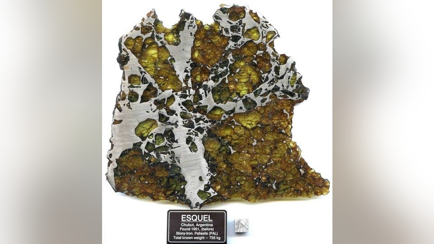 The Esquel meteorite, consisting of iron-nickel and olivine, was discovered in central Argentina. It is an example of a rare meteorite that may have been born from the collisions of magnetic asteroids in the early solar system, scientists say.