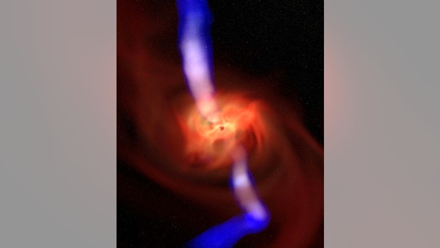 In this still from a magneto-spin effect simulation of black holes, a spinning black hole produces a power jet (white-blue) along its spin axis. Near the center, the jet direction and rotational axis align with the spin axis, farther away the j