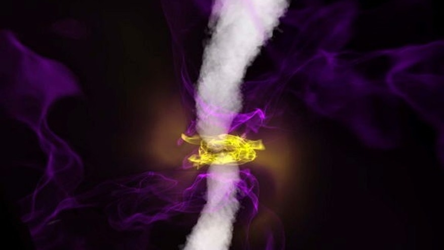 In this still from a magneto-spin effect simulation of black holes, a spinning black hole (at center) produces a powerful jet (white smoke) along its spin axis. The jet affects the orientation of the surrounding accretion disk (infalling hot pl