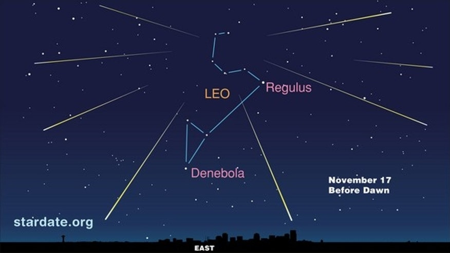 This sky map for the Leonid meteor shower of 2012 shows the location of the radiant (center) before dawn on Saturday, Nov. 17 - the peak viewing time.