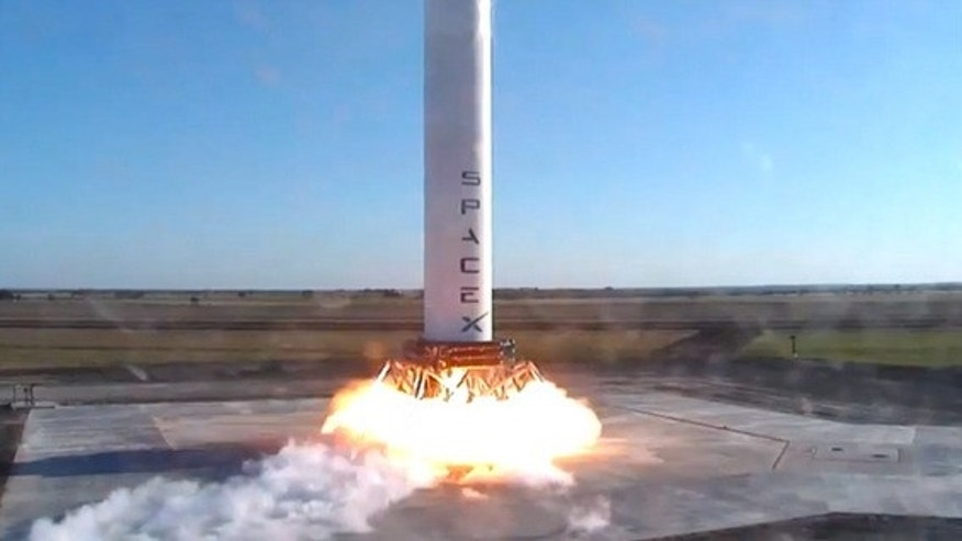 SpaceX's Grasshopper vertical takeoff and landing test vehicle (VTVL) hops nearly two stories (17.7 feet/5.4 meters) during a Nov. 1, 2012 test flight.