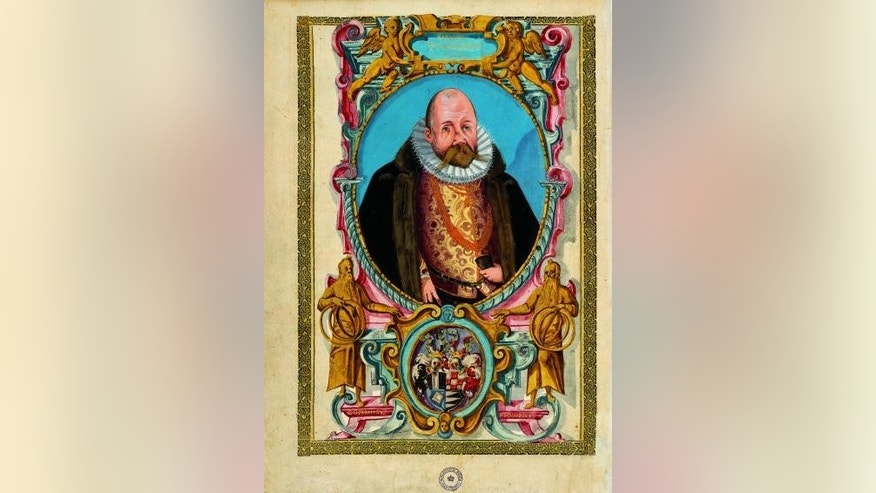 This is a watercolour of Tycho Brahe from around 1600 as he looked shortly before his death. His bushy mustache and slightly deformed nose with its prosthesis are visible. Both have been analyzed by the research team.