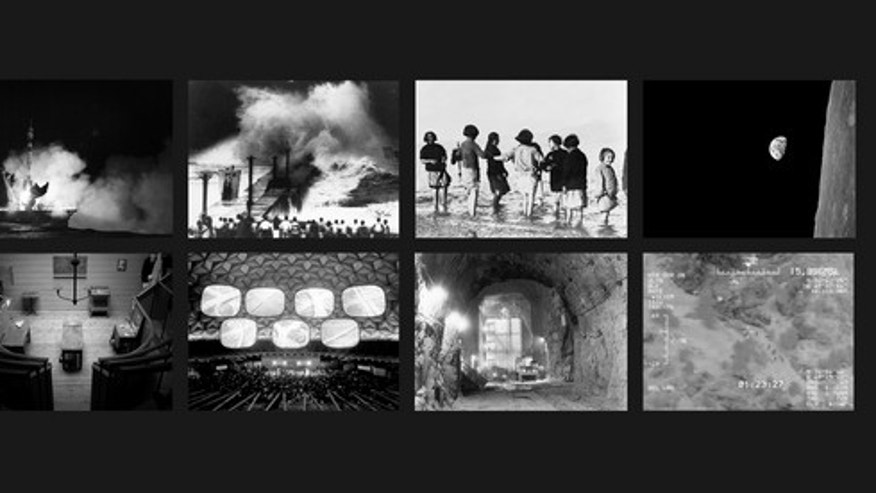 """The Last Pictures"" montage. Top row (l to r): Soyuz Fg Rocket Launch, Baikonur Cosmodrome, Kazakhstan; Typhoon, Japan, Early Twentieth Century; Greek and Armenian Orphan Refugees Experience the Sea for the First Time, Marathon, Greece; Earthri"