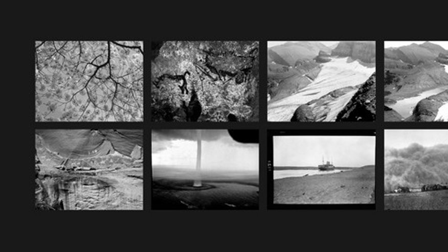 "The Last Pictures"" montage. Top row (l to r): Cherry Blossoms; The Pit Scene, Lascaux Cave; Grinnell Glacier, Glacier National Park, Montana, 1940; Grinnell Glacier, Glacier National Park, Montana, 2006. Bottom row (l to r): Narbona Panel, Cany"