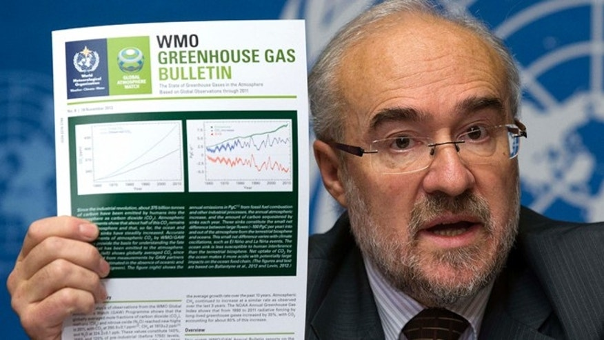 Nov. 20, 2012: French Michel Jarraud, Secretary-General of World Meteorological Organization, WMO, informs the media about greenhouse gases in the atmosphere.