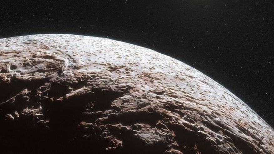 This artist's impression shows the surface of the distant dwarf planet Makemake. This dwarf planet is about two thirds of the size of Pluto, and travels around the Sun in a distant path that lies beyond that of Pluto, but closer to the Sun than