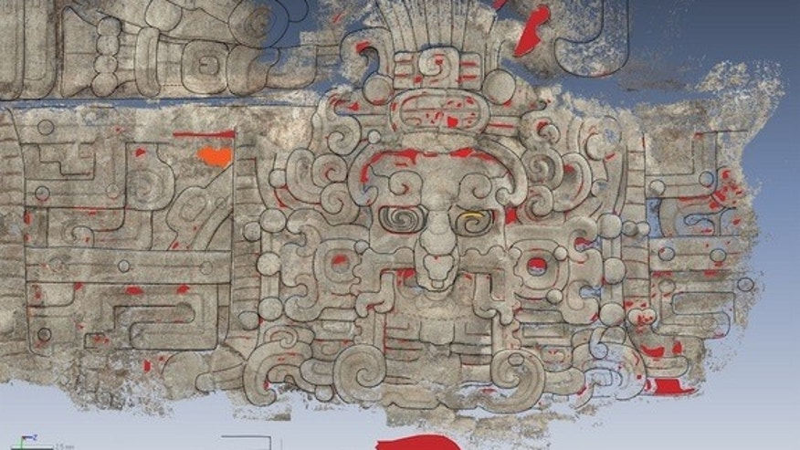 A tracing of an artistic representation of the Maya sun god found on the north side of the Diablo Pyramid at El Zotz, an archaeological site in Guatemala.