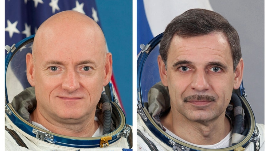 This photo combo provided by the Gagarin Cosmonaut Training Center via NASA, shows NASA astronaut Scott Kelly and Russian cosmonaut Mikhail Kornienko.