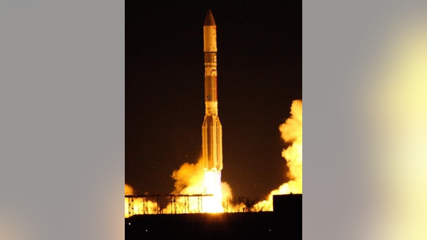 Proton Breeze M rocket boosts EchoStar XVI spacecraft.