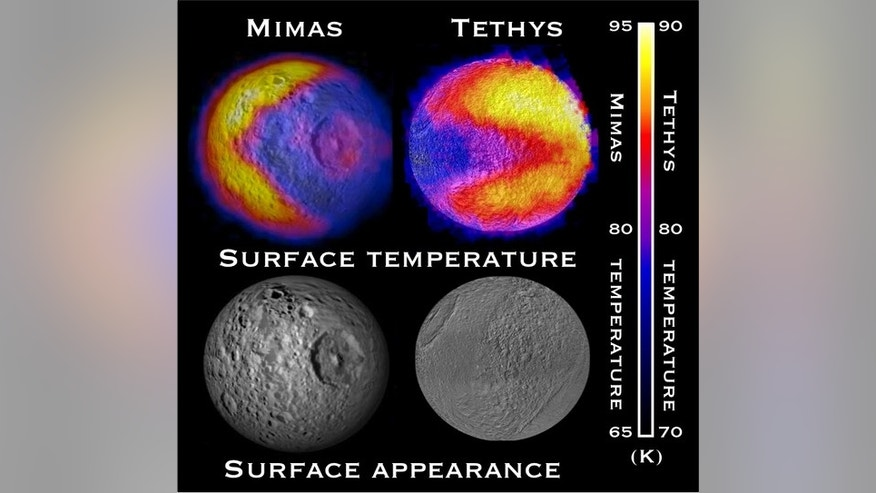 "Scientists with NASA's Cassini mission have spotted two features shaped like the 1980s video game icon ""Pac-Man"" on moons of Saturn. One was observed on the moon Mimas in 2010 and the latest was observed on the moon Tethys in September 2011."