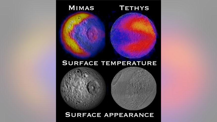 This view of the Pac-Man shapes on Saturn's moons Mimas and Tethys show variations in the heat signature of both moons as seen by an infrared-detecting tool on NASA's Cassini spacecraft.